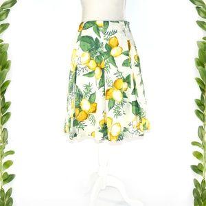 TALBOTS Amalfi Lemon Print Pleated A-line Skirt